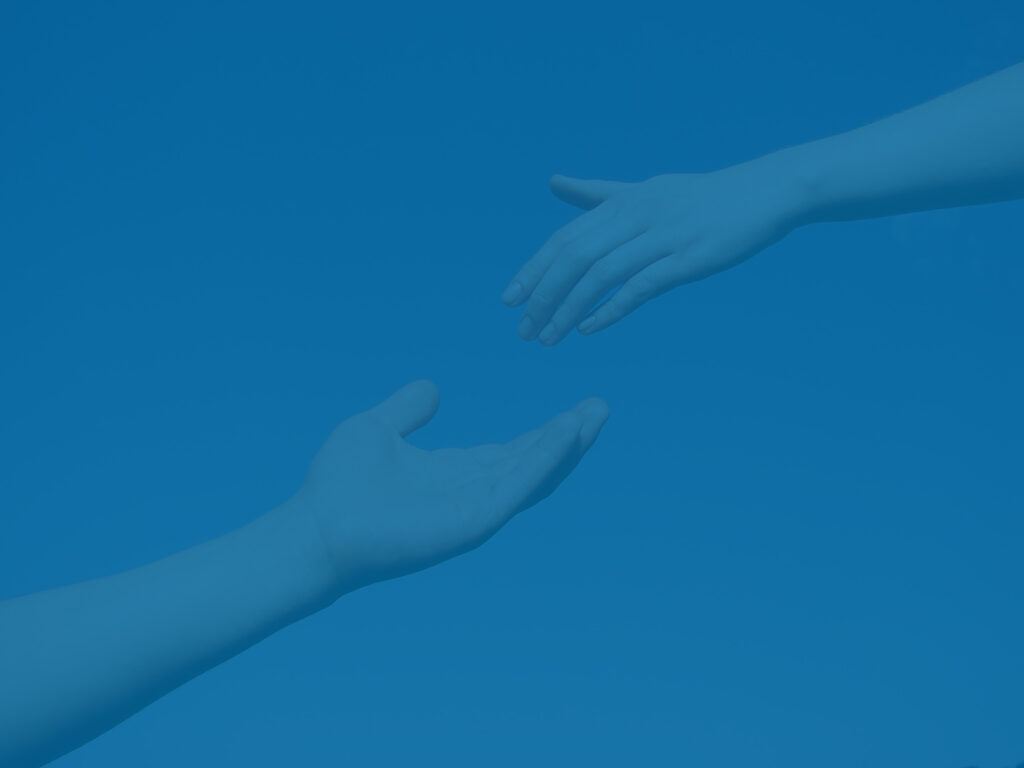 Outstretched hands as a metaphor for business value gap