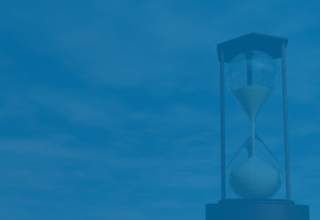 hourglass representing time running out to develop business exit plan