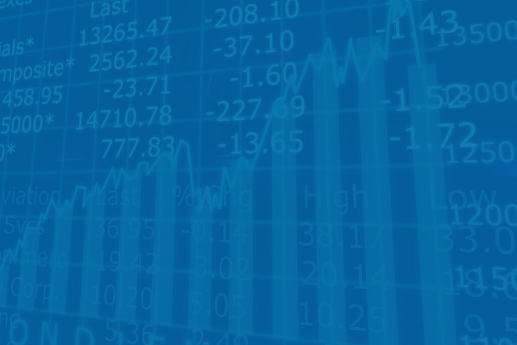 Stock numbers and charts to represent crypto investment market