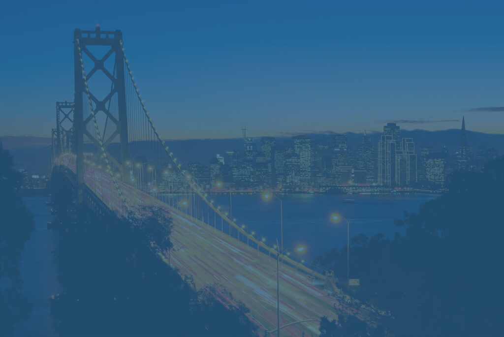 Bay Bridge at night. Concept to show businesses moving out of California.